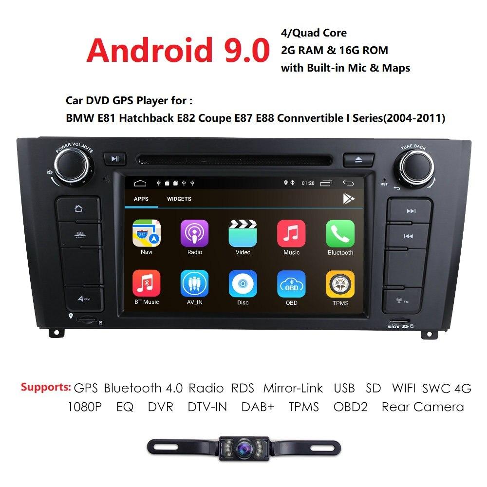 AutoRadio 2 Din Android 9.0 lecteur DVD de voiture pour BMW E87 BMW série 1 E88 E82 E81 I20 Navigation GPS Audio 4G Wifi DAB + BT DTV TPMS