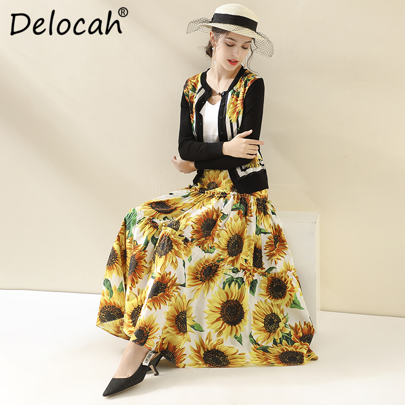 Delocah New Fashion Autumn Knitting Shirt Women 39 s Sunflower Print Single Breasted Elegant Vintage Ladies Wool Cardigans Blouse in Blouses amp Shirts from Women 39 s Clothing