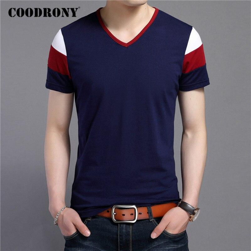 COODRONY מותג קצר שרוול חולצה גברים Streetwear אופנה מזדמן V-צוואר חולצה קיץ צמרות רך כותנה טי חולצה Homme C5084S