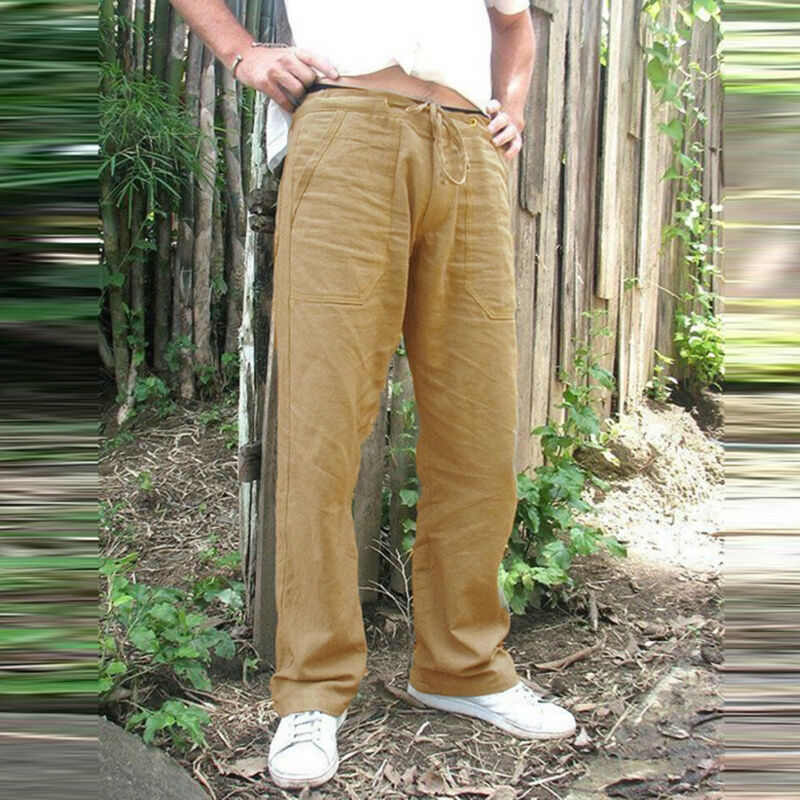 NEW Men's Hemp Casual Pants Vintage Pockets Loose Straight Pant Beach Yoga Gym Drawstring Baggy Trousers Soild Color Plus Size