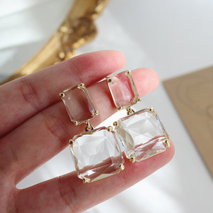 2020 New Arrival Trendy Rhinestone Transparent Geometry Square Drop Earrings For Women Fashion Exaggerated Party Jewelry Gifts