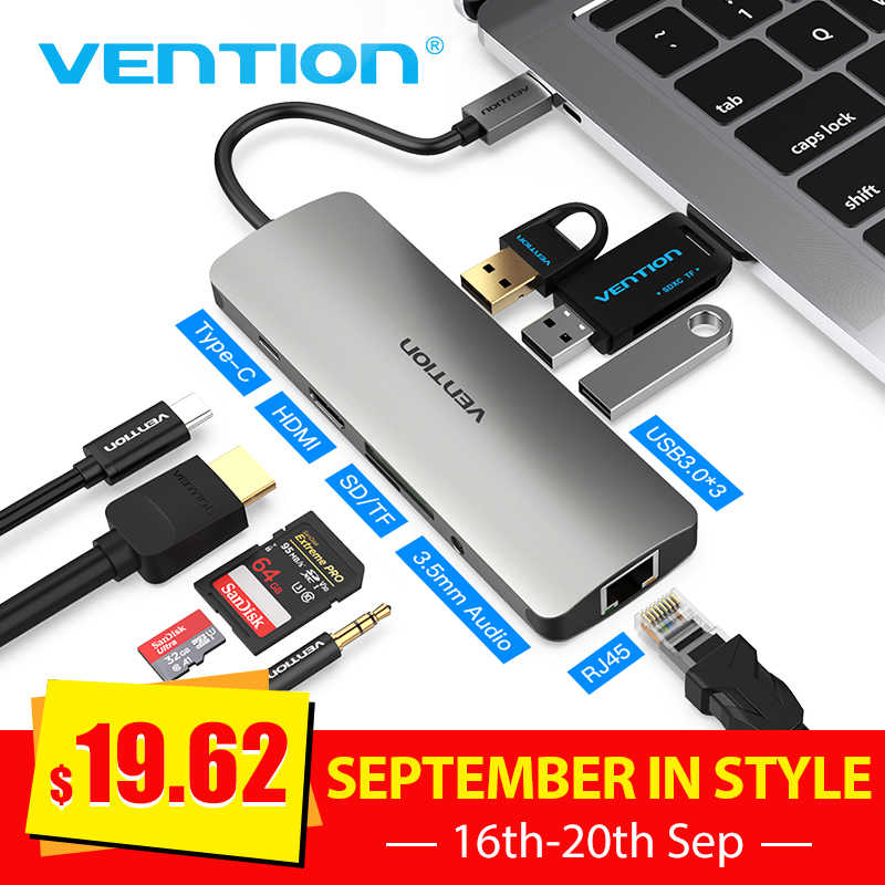 Vention Thunderbolt 3 Dock USB Hub Type C to HDMI USB3.0 RJ45 Adapter for MacBook Samsung Dex S8/S9 Huawei P20 Pro usb c Adapter