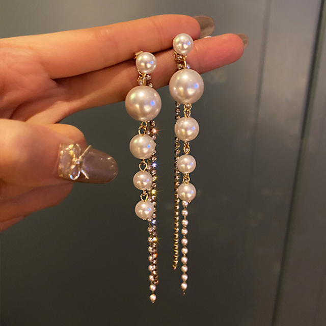 Long Dangle Earrings for Women Fashion Full Crystal Simulated Pearl Tassel Drop Earring Vintage Gold Brincos Jewelry 1