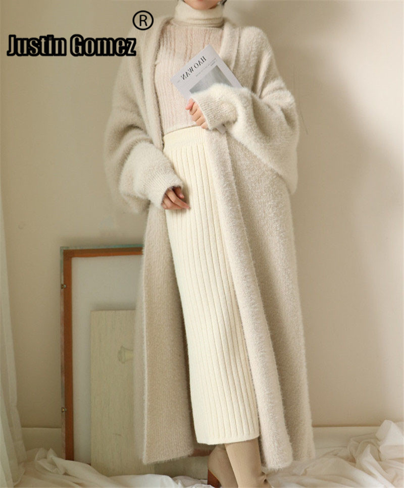 New 2020 Spring Soft Comfy Oversized Warm Faux Mink Fur Velvet Cardigan Women Trench Style Knitted Outwear Elegant women coats