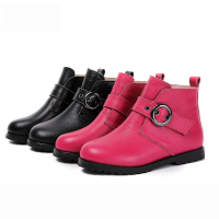 Dolakids New autumn and winter children's shoes velvet warm ankle boots girl single boots children's Leather Martin boots