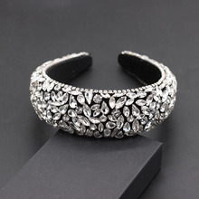New Baroque fashion luxury covered rhinestones exaggerated hair hoop prom show travel gift hair accessories 686