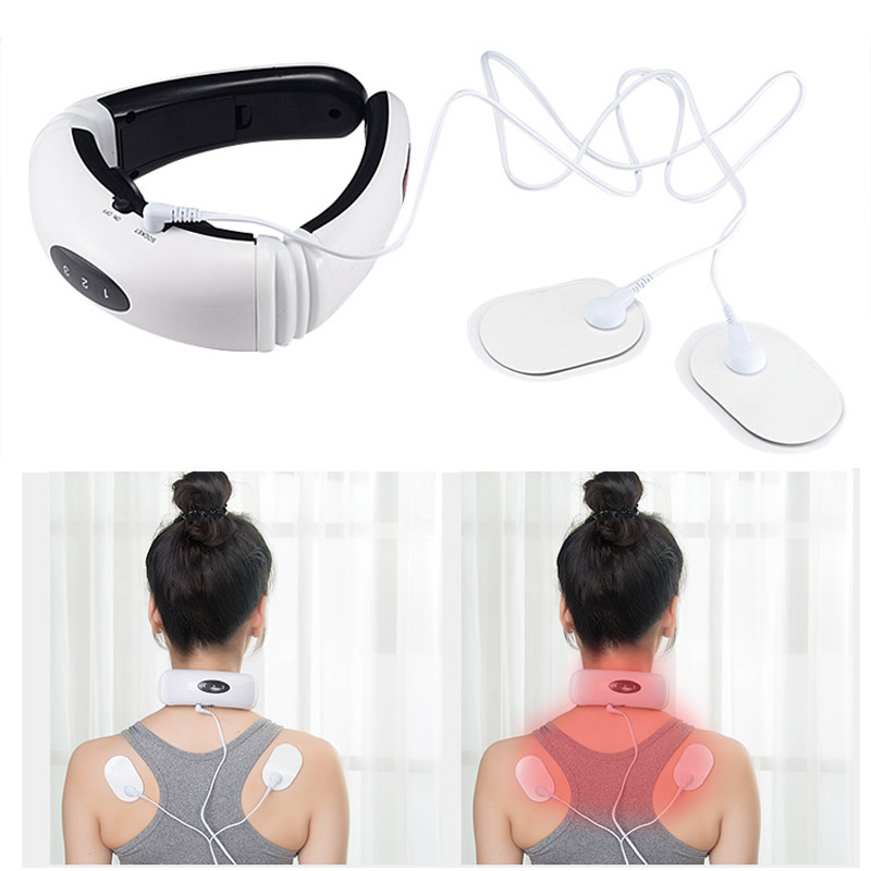 HOT Electric Pulse Back Neck Massager Health Care Relaxation Far Infrared Heating Pain Relief Tool Intelligent Cervical Massager