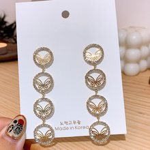 MENGJIQIAO-Pendientes de gota de circonita con forma de mariposa, redondos y delicados, de estilo coreano, con Micro pavé, para mujeres y niñas