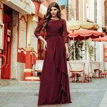 Plus Kích Thước Quần Sịp Đùi Thông Hơi 2020 Thanh Lịch Tay Lửng Cổ Tròn Burgundy Chữ A Voan Sexy Phối Ren Appliques Giá Rẻ Vestidos De Festa