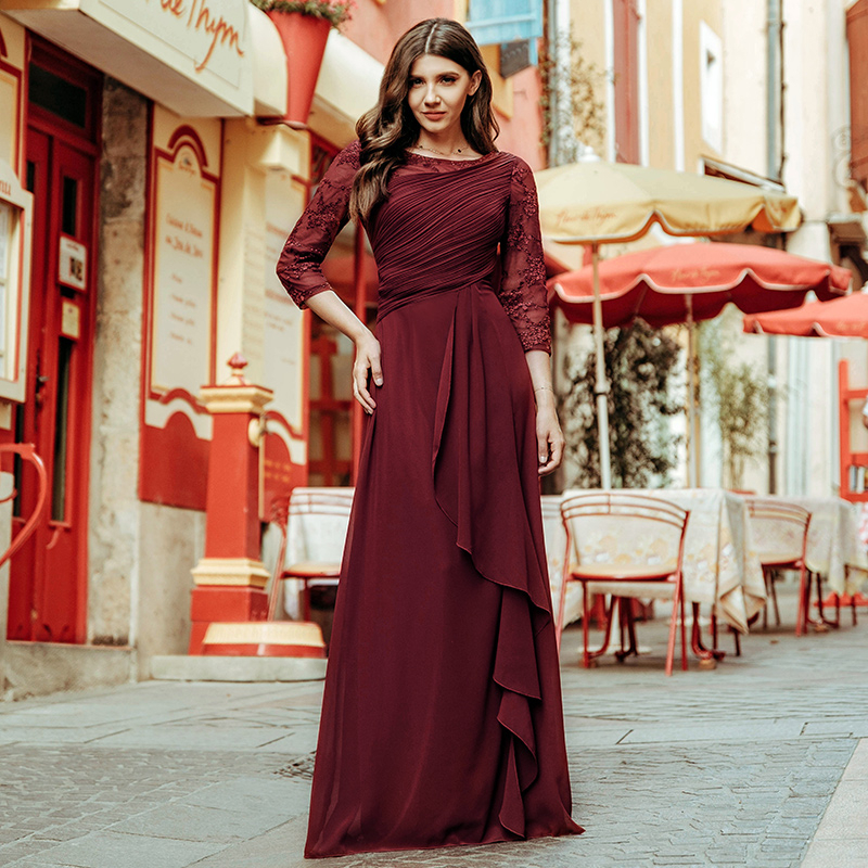 Plus Size   Prom     Dresses   2019 Elegant Half Sleeve O-neck Burgundy A-line Sexy Chiffon Lace Appliques Cheap Vestidos De Festa