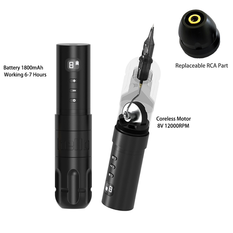 New Wireless Tattoo Battery Pen Rotary Machine Gun Japan Coreless Motor Digital Display Permanent Makeup Pen Needle Cartridges