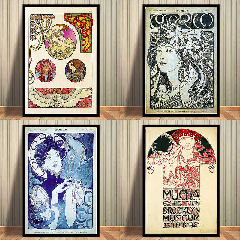 Exhibition Brooklyn Museum Alphonse Maria Mucha Vintage Kraft Posters Canvas Paintings Wall Stickers Bar Home Decor Gift