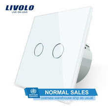 Interruptor táctil de pared Livolo 2 Gang 1 Way, interruptor de hogar de pared, Panel de interruptor de cristal, estándar europeo, 220-250 V, C702-1/2/3/5(China)