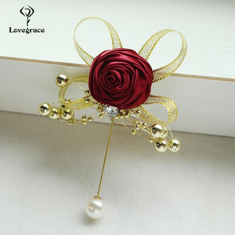Silk Rose Brooch Women Wedding Corsage Flowers Pearl Decor Groom Boutonniere Buttonhole Wedding Planner Marriage Corsage Flowers