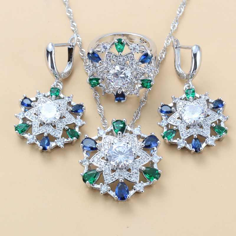 925 стерлингового серебра 6 цветов Комплекты больших украшений с натуральным камнем CZ зеленый синий модный костюм для женщин Свадебные наборы для невесты