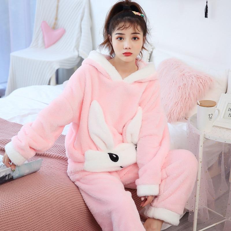 Autumn Winter   Pajamas   Women   Pajama     Sets   Flannel Pink Rabit Cartoon Thick Warm Women Sleepwear Cute Animal Homewear