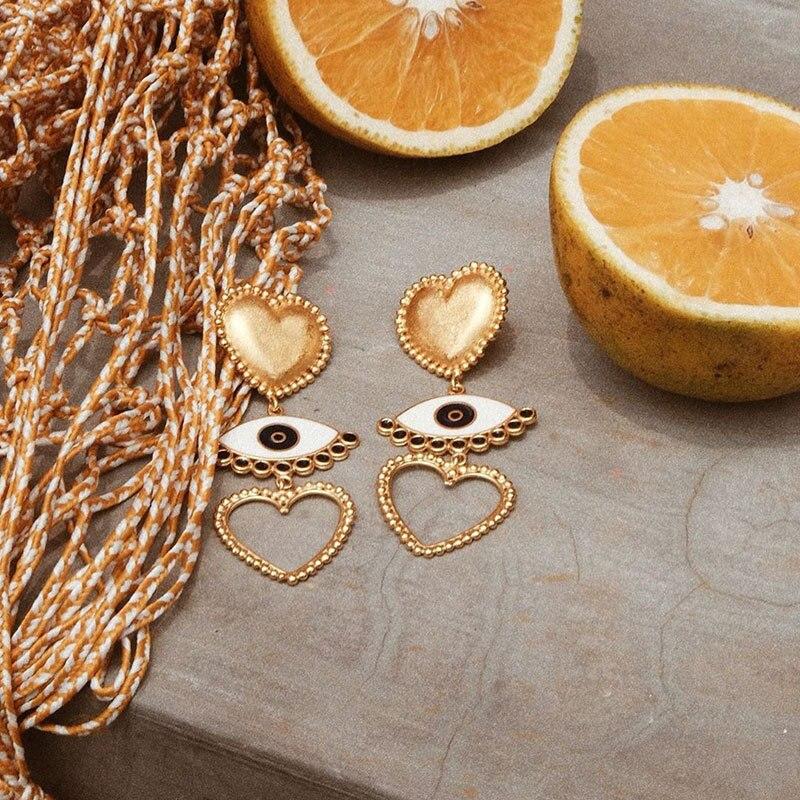 new punk style love heart eye earrings long big fashion crystal earrings women drop korean dangle earrings in Drop Earrings from Jewelry Accessories