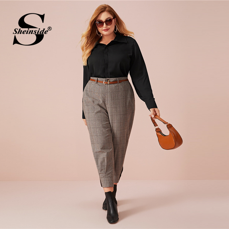 Sheinside Plus Size Grey Plaid Print Pants Women 2020 Spring High Waist Crop Trousers Office Ladies Elegant Zipper Pants