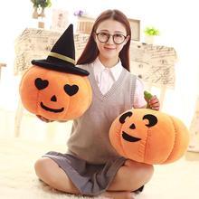 22/45cm Kawaii Pumpkin with Hat Plush Toy Halloween Stuffed Doll Children Gift Christmas