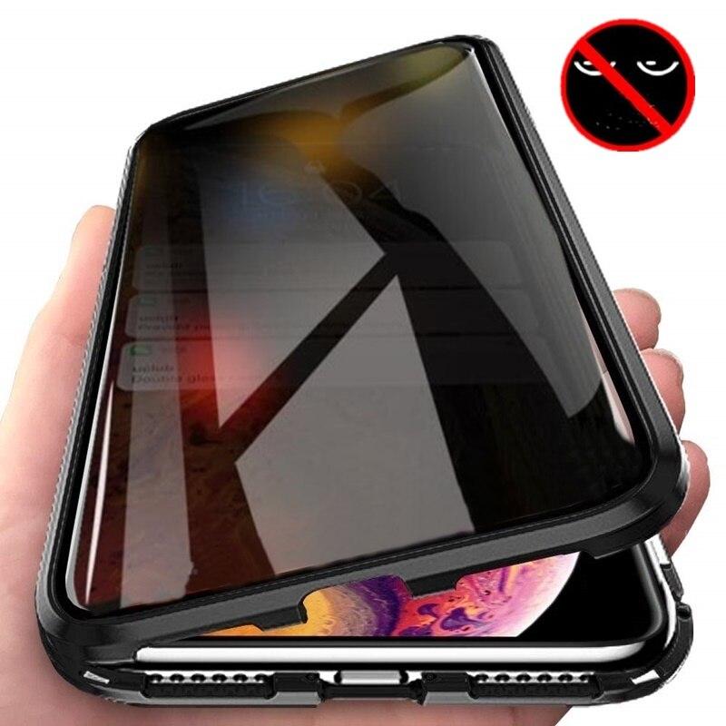New Metal Magnético de Privacidade Anti-ver Caixa Do Telefone Para iphone XR XS Max X 6 7 8 Além de Protetor de Tela Privacidade Temperado Tampa De Vidro