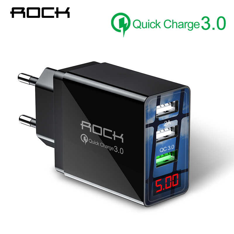 Rock QC 3.0 30W 3 Usb Cepat Pengisian Charger LED Display untuk iPhone Xiaomi Samsung Huawei 3 Port cepat Adaptor Dinding Turbo