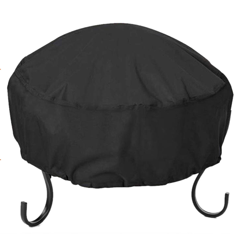 Fire Pit Cover Round 34X16 Inch Waterproof 210D Oxford Cloth Heavy Duty Round Patio Fire Bowl Cover Round Firepit Cover Black