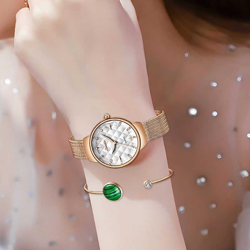 SUNKTA New Brand Luxury Watch Women Fashion Dress Quartz Wrist Watch Ladies Stainless Steel Waterproof Watches Montre Femme+Box