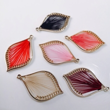 diy jewelry  Leaf shape Color rope connection  Metal  Earring Settings jewelry supplies  earring findings  4pcs