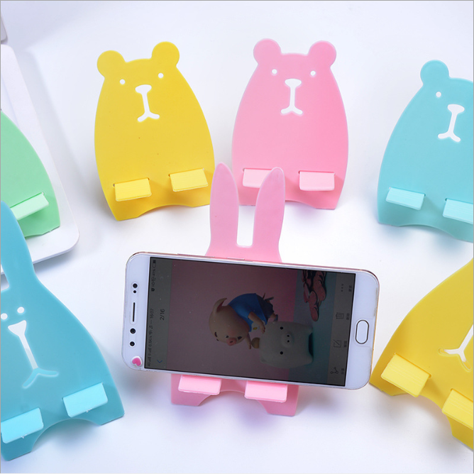 PP Mobile Phone Holder Bracket Support Stand Shelf Desktop Korean Cartoon Cute Portable Creative Office Rabbit Removable Novelty