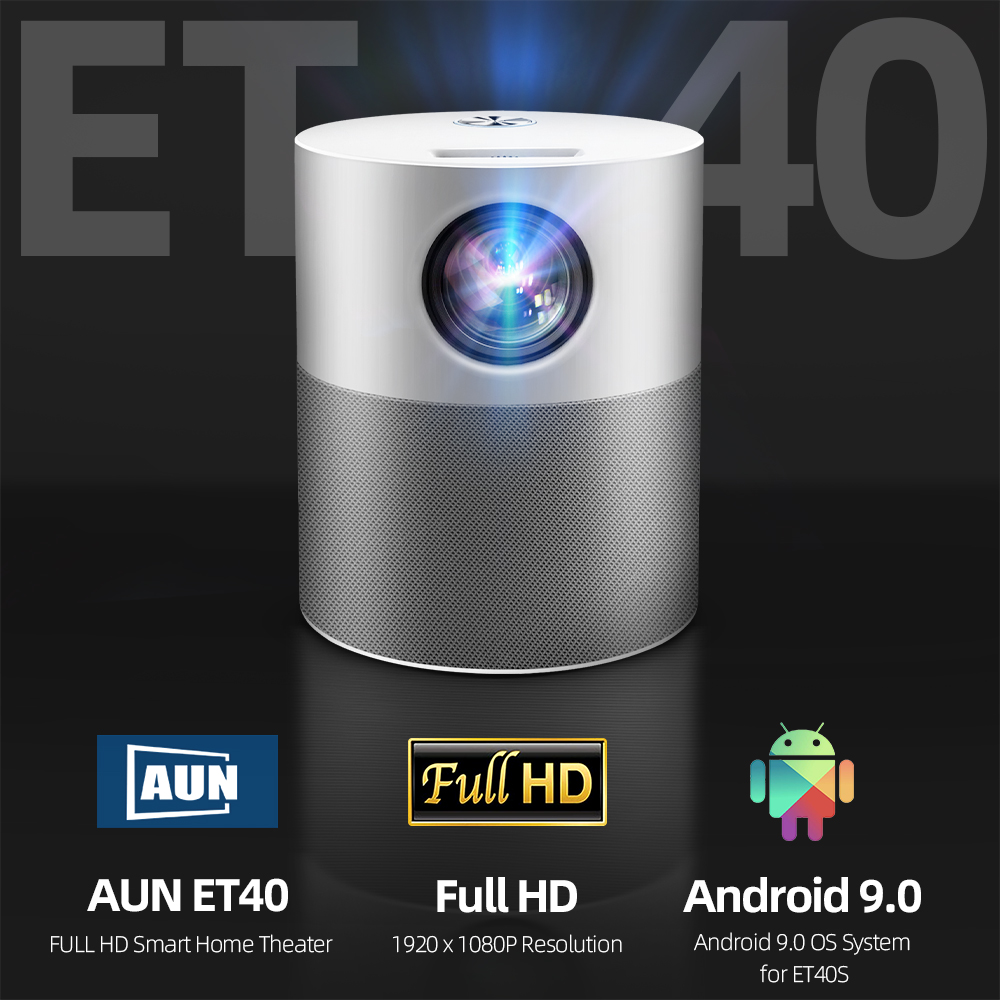 AUN ET40 Projector Full HD 1080P Android 9 Video Projector LED Projector 4k Decoding Mini Beamer for Home Theater Cinema Mobile 2