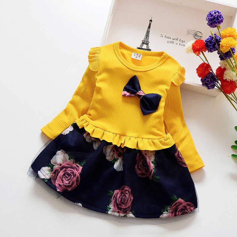 Ilkbahar sonbahar yürümeye başlayan kız elbise elbiseler pamuklu bebek kız elbise çocuklar moda kızlar yay uzun giyim çiçek kol