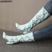 ASHIOFU Neue Heißer Verkauf Frauen Chunky Ferse Stiefel Faux-schlange Leder Mid-kalb Stiefel Party Prom Abend Mode einkaufen Stiefel Schuhe