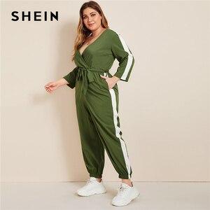 Image 4 - SHEIN Plus rozmiar Colorblock komża z przodu popędzający kombinezon kobiet wiosna jesień na co dzień V Neck z długim rękawem sportowe długie kombinezony