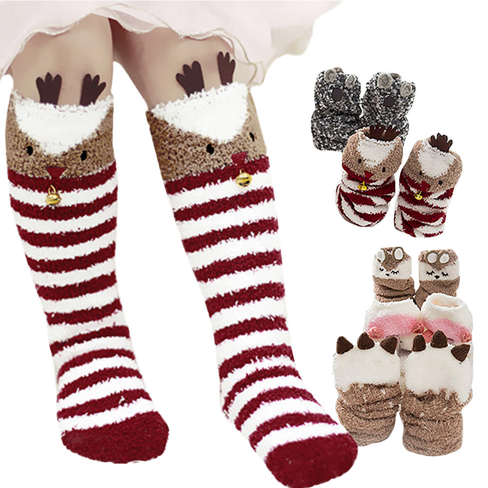 1-5T Baby Unicorn High Socks Coral Fleece Knee-highs For Toddler Boys Girls Foot Wear Kids Accessories Winter Christmas Gift