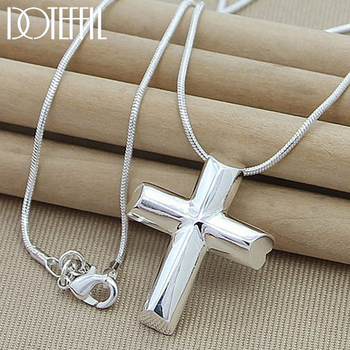 DOTEFFIL Genuine 925 Sterling Silver Cross Necklace Fashion Jewelry Pendant 18 Inches Snake Chain Women Wedding Engagement Gift classic cross pendant necklace for man women snake chain silver plated jewelry gift dropshipping wholesale