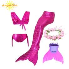 Angelgirl meninas natação sereia cauda com monofin crianças férias maiô biquíni crianças sereia vestido de princesa cosplay traje