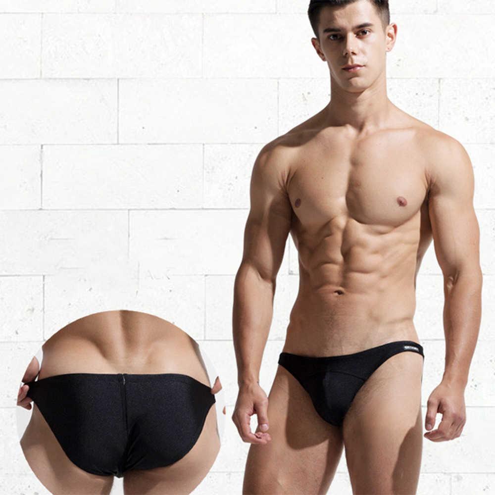 Hommes taille basse maillots de bain solide maillot de bain slips Sexy maillot de bain Triangle short de bain troncs mode maillots de bain hommes boxeurs
