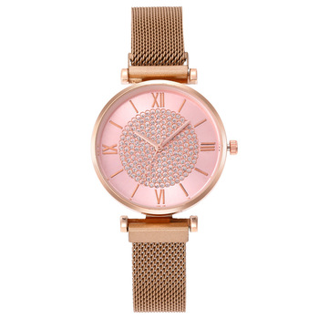 women watches 2020 New Stylish Magnet Watch Girls Ladies Cute Pink Crystal Dial Quartz Clock montre femme cute pink leather watches for women luxury rose gold metal case quartz clock ladies love crystal dial wristwatches montre femme