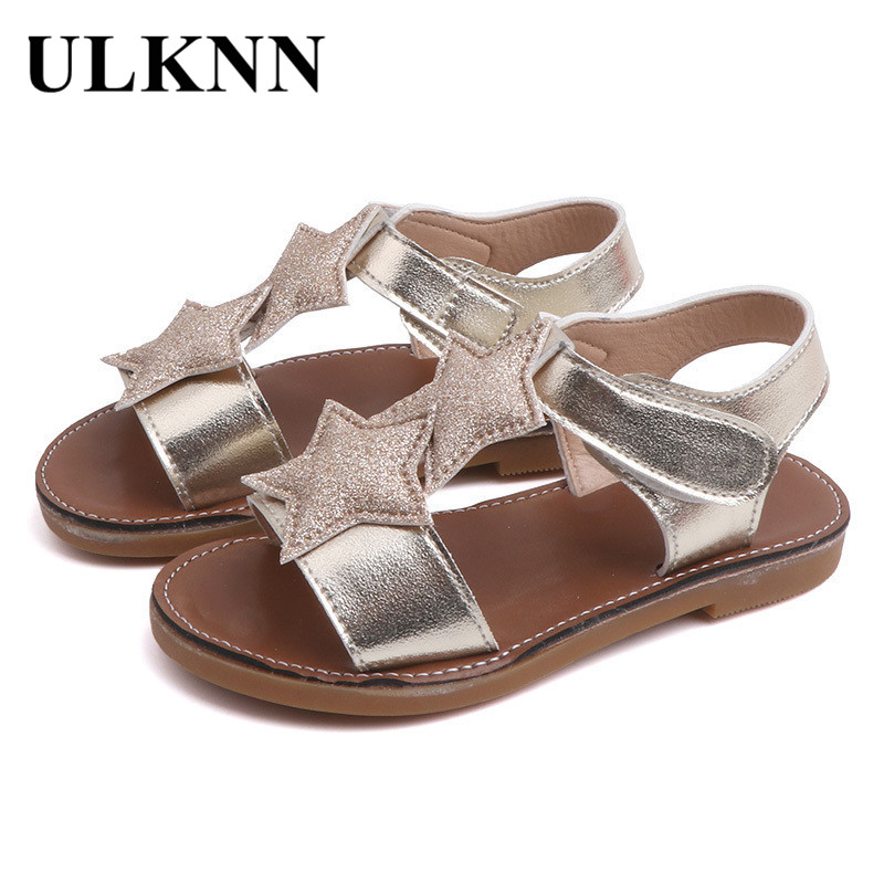 ULKNN CHILDREN'S Shoes GIRL'S Sandals 2020 Summer New Style Children Soft-Sole Princess Shoes Little Girl Anti-slip Star Sandals