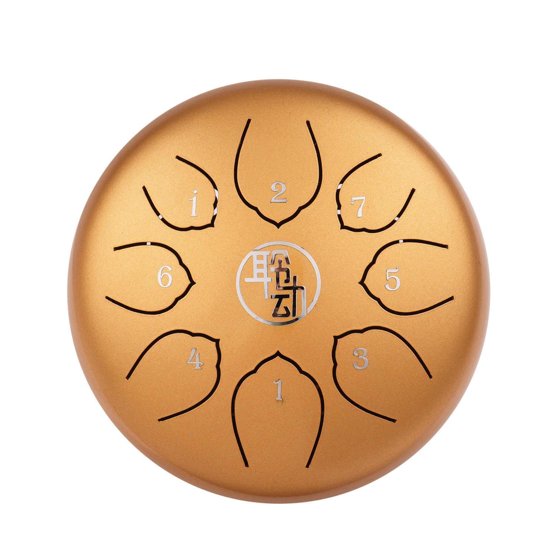 Mini Tamburo Lingua Tamburo 6 Pollici In Acciaio Handpan Tamburo 8-Note C-Chiave Strumento A Percussione con Mallets Tamburo borsa Asciugandosi Panno