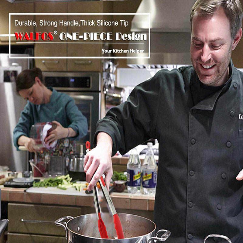 WALFOS qualité alimentaire 100% Silicone pinces alimentaires pinces de cuisine ustensile cuisson pince pince pince accessoires salade servant BBQ outils