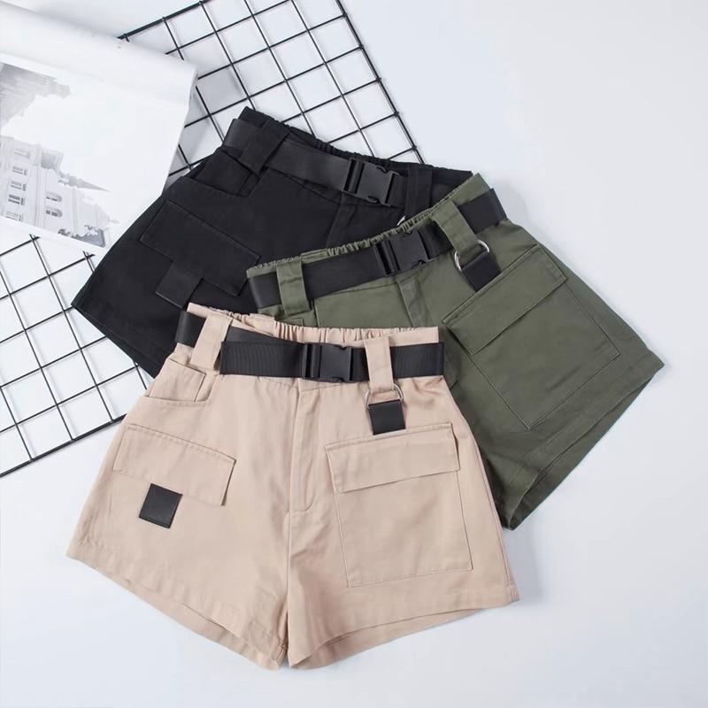 Women's High Waist Wide Leg Cargo Shorts Black Khaki Sashes Pocket Women Shorts 2019 Summer Vintage Zipper Safari Female Clothes