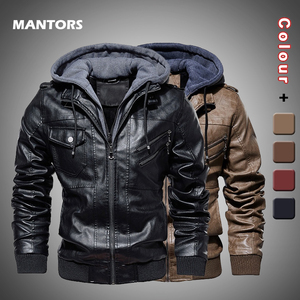 Image 1 - Männer Pu Jacke Winter Leder Mit Kapuze Biker Mantel Männer 2019 Streetwear Fleece Zipper Jacke mit Abnehmbaren Hut Casual Mäntel