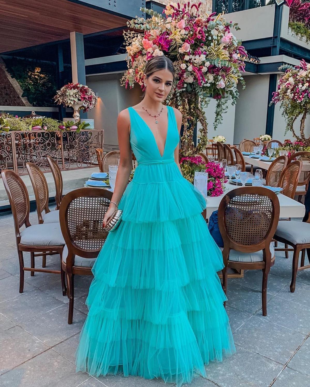 XIANGXI Tulle Prom Dress 2020 A-Line Deep V-Neck Sleeveless Sky Blue Long Evening Dress Formal Gowns Party robe de soiree