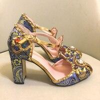 Spring Summer Rhinestone Shoes Women Embroidery Flower Jewelled Diamond High Heels Pumps Bridal Crystal Metal Wedding Shoes