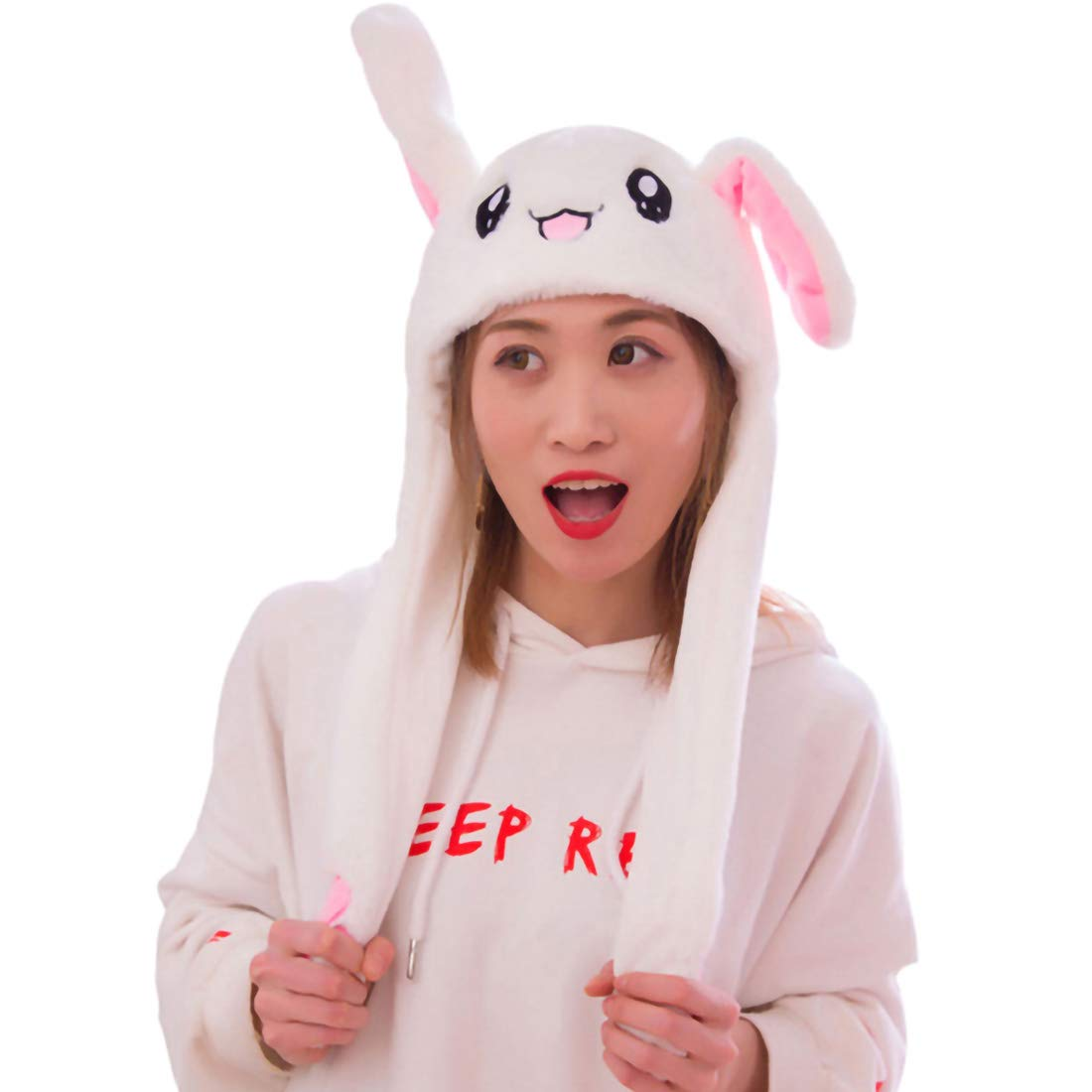 Funny Plush Bunny Hat Ears Mobile Jumping Hat Fun Rabbit Plush Hat For Boys And Girls Cosplay Christmas Party Holiday Hat