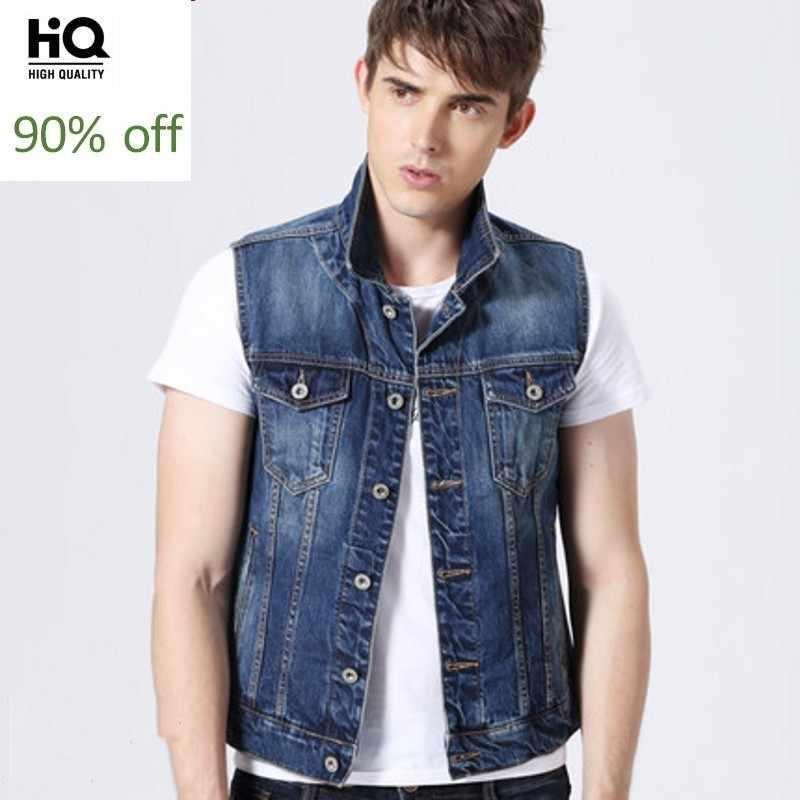 2020 coreano fahsion casual venda quente sem mangas fino ajuste denim jaquetas único bolso breasted motor calca masculina