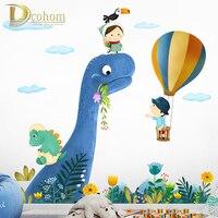 Мультфильм большой динозавр наклейки на стену для детей комнаты домашний декор Детская комната животное Наклейка на стену виниловый худож...