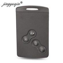 Jinyuqin Schlüssel Shell 4 Tasten Für Renault Laguna Koleos Megane Fob Remote Smart Card Schlüssel Fall Mit Insert Kleine Schlüssel klinge