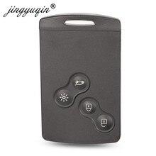 Jinyuqin chave do escudo 4 botões para renault laguna koleos megane fob remoto cartão inteligente chave caso com inserção pequena chave lâmina